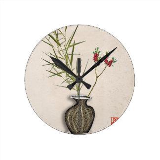 ikebana 8 durch tony fernandes runde wanduhr