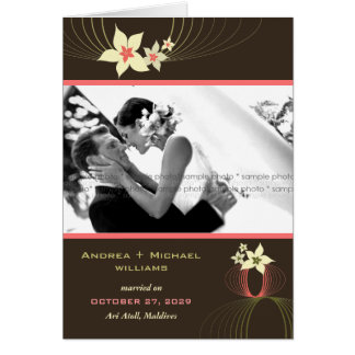 Ikebana Frangipani-Rosa-tropische Blumen-Hochzeit Karte
