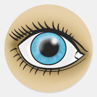 Ikone des blauen Auges Runde Sticker