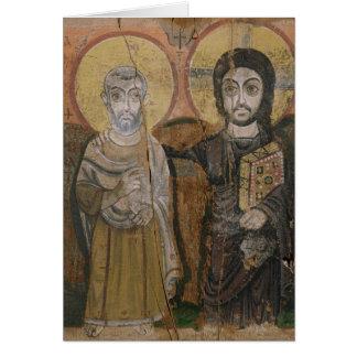 Ikone, die Abbott Mena mit Christus darstellt Grußkarte