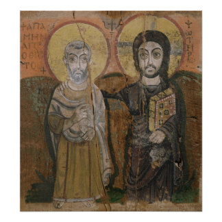 Ikone, die Abbott Mena mit Christus darstellt Poster