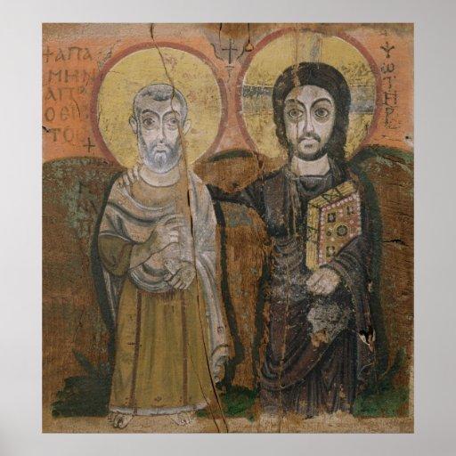 Ikone, die Abbott Mena mit Christus darstellt Plakatdrucke