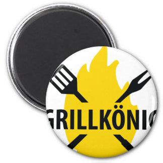 Ikone Grillkönig MITs Flammen Kühlschrankmagnet