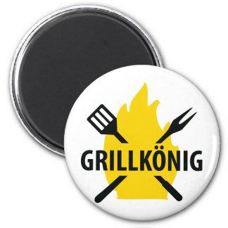 Ikone Grillkönig MITs Flammen Runder Magnet 5,7 Cm