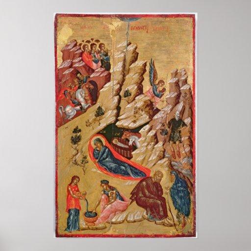 Ikone, welche die Geburt Christi darstellt Poster