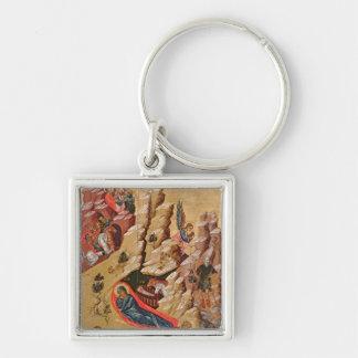 Ikone, welche die Geburt Christi darstellt Silberfarbener Quadratischer Schlüsselanhänger
