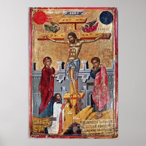 Ikone, welche die Kreuzigung, 1520 darstellt Plakatdruck