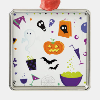 Ikonen Halloween Quadratisches Silberfarbenes Ornament