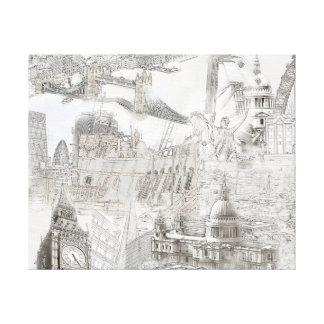 Ikonen von London - Digital-Kunst-Leinwand Leinwanddruck