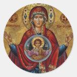 Ikonenhafte Mary des 15. Jahrhundertsmit Christus- Runder Aufkleber