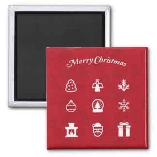 Ikonenillustration der frohen Weihnachten Quadratischer Magnet