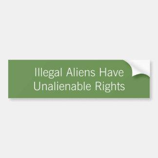 Illegale Außerirdische hat unübertragbare Rechte Autoaufkleber