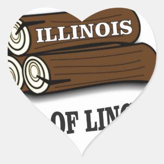 Illinois-Klotz von Lincoln Herz-Aufkleber