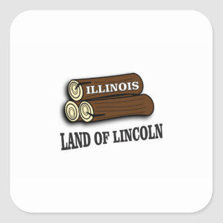 Illinois-Klotz von Lincoln Quadratischer Aufkleber