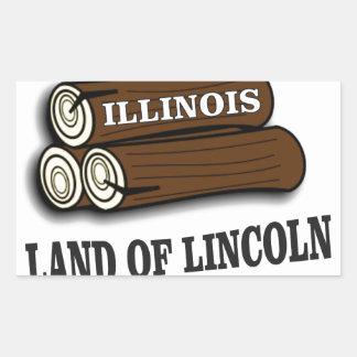 Illinois-Klotz von Lincoln Rechteckiger Aufkleber