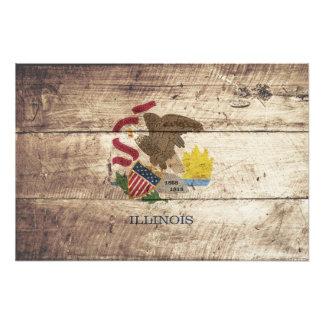 Illinois-Staats-Flagge auf altem hölzernem Korn Fotodruck
