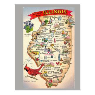 Illinois-Staats-Karte Postkarte