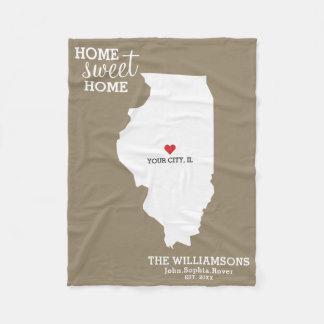 Illinois-Staats-Karten-individuelle Namen, Stadt, Fleecedecke