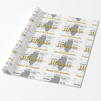 Illinois-Staatsstolz-Karten-Silhouette Geschenkpapier