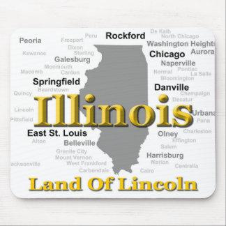 Illinois-Staatsstolz-Karten-Silhouette Mauspads