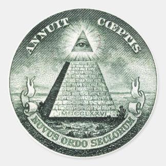 Illuminati US großes Siegel Runder Aufkleber