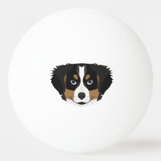 Illustration Bernese Gebirgshund Tischtennis Ball