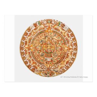Illustration des aztekischen Sonnesteins Postkarte