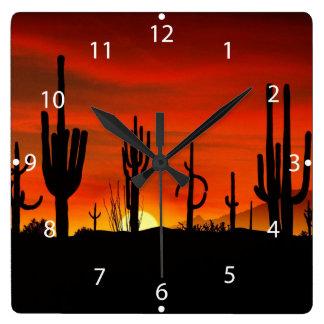 Illustration des Kaktusbaums wenn der Wanduhr