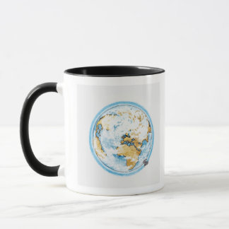 Illustration des Satelliten die Erde in Umlauf Tasse