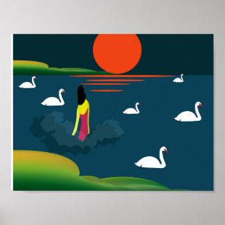 Illustration einer Frau, die in den See kommt Poster