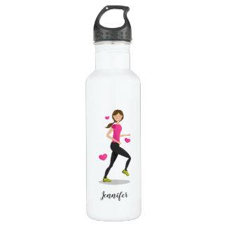 Illustration eines Läufer-Mädchens mit Edelstahlflasche