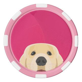 Illustration goldenes Retriver mit rosa Poker Chip Set
