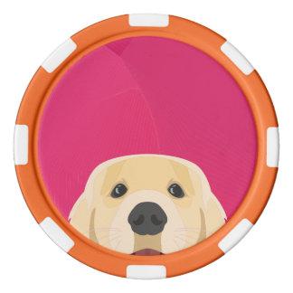 Illustration goldenes Retriver mit rosa Poker Chips