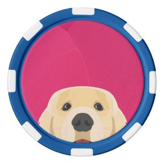 Illustration goldenes Retriver mit rosa Poker Chips Set