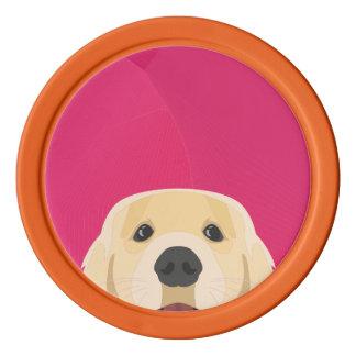 Illustration goldenes Retriver mit rosa Pokerchips
