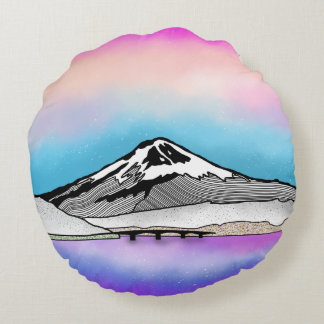 Illustration Mt Fuji Japan Landschafts Rundes Kissen