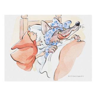 Illustration Rotkäppchens stehend Postkarte