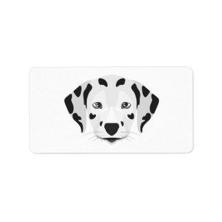Illustration verfolgt Gesicht Dalmatiner Adressaufkleber