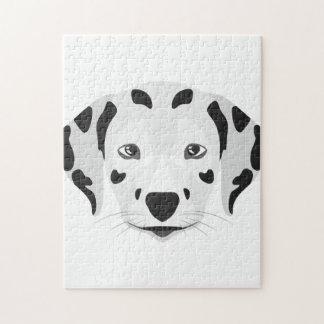 Illustration verfolgt Gesicht Dalmatiner Puzzle