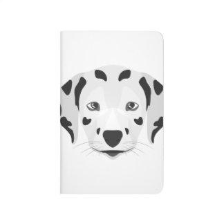 Illustration verfolgt Gesicht Dalmatiner Taschennotizbuch