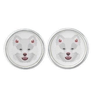 Illustration verfolgt Gesicht finnisches Lapphund Manschettenknöpfe