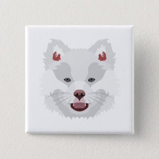 Illustration verfolgt Gesicht finnisches Lapphund Quadratischer Button 5,1 Cm