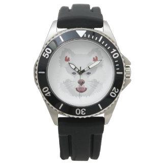 Illustration verfolgt Gesicht finnisches Lapphund Uhr