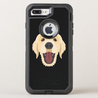 Illustration verfolgt Gesicht goldenes Retriver OtterBox Defender iPhone 8 Plus/7 Plus Hülle