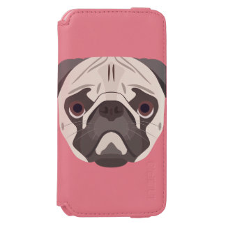 Illustration verfolgt Gesicht Mops Incipio Watson™ iPhone 6 Geldbörsen Hülle