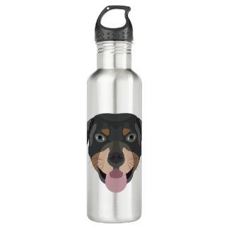 Illustration verfolgt Gesicht Rottweiler Edelstahlflasche