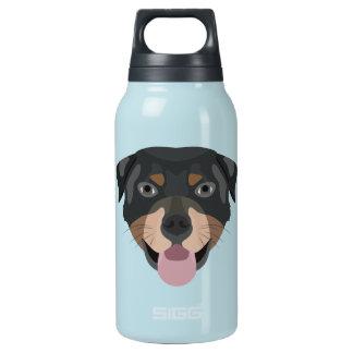Illustration verfolgt Gesicht Rottweiler Isolierte Flasche