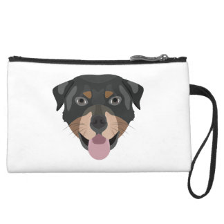 Illustration verfolgt Gesicht Rottweiler Mini Velour Clutch