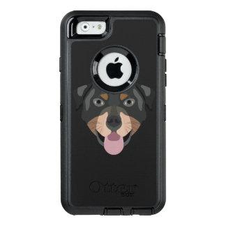 Illustration verfolgt Gesicht Rottweiler OtterBox iPhone 6/6s Hülle