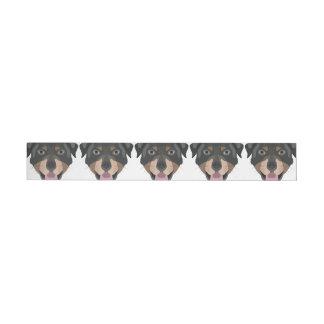 Illustration verfolgt Gesicht Rottweiler Rundum-Adressaufkleber